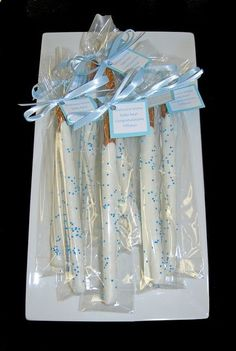 blue and white chocolate dipped pretzel baby shower favors by Simply Sweets, via Flickr