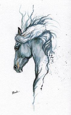 Blue Horse 2014 06 16 Art Print by Angel Ciesniarska