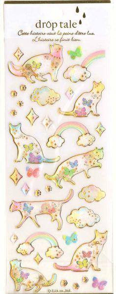 Kawaii Japan Sticker Sheet Assort Droptale Series: Cat with Paws Stars Butterfly Clouds Rainbow Twinkle Stars