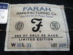 Garment label from Farah 1953 Selvage Denim Jeans