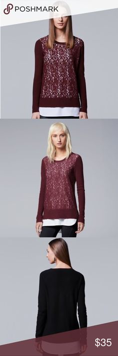 Simply Vera by Vera Wang Red Lace Sweater Brand new with tags! (006-0070)   PRODUCT DETAILS: •Size: Large •Colors: Maroon / Red, White (The Red is almost a Red/ Orange Color.) •Made in China •Measurements: .Chest-22inch Length-30-32inch •Sweater: 53% cotton, 40% nylon, 7% viscose •Woven: 93% polyester, 7% spandex •Machine Wash •White Lining to give off impression of undershirt •Lace Material •Long Sleeve •Crew Neck •White lining peaks out the bottom  Tags: work professional business career…