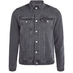 Grey Denim Jacket ❤ liked on Polyvore featuring outerwear, jackets, distressed jacket, stripe jacket, long sleeve denim jacket, gray jean jacket and striped jacket