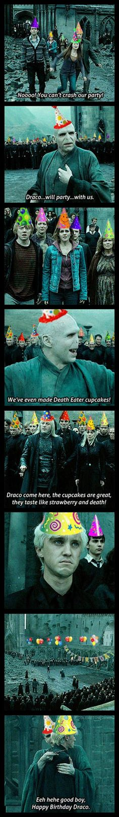 Don't let Voldemort and Draco crash your party! Humour Harry Potter, Harry Potter Fandom, Harry Potter Birthday Meme, Hogwarts, Hery Potter, Scorpius And Rose, Yer A Wizard Harry, Ravenclaw, Fantastic Beasts