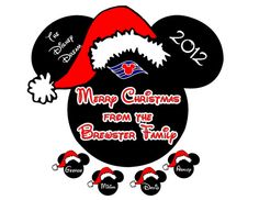 Custom Personalized Santa Mickey With Small Name Heads Disney Cruise Stateroom Door Magnet