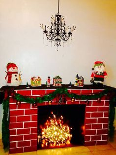 Resultado de imagen para como hacer chimeneas navideñas en icopor