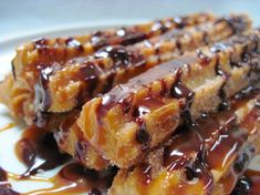 Spicy Churros with Cajeta Caramel Sauce & Chocolate Drizzle