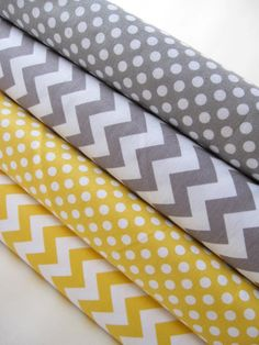 Yellow and Gray Chevrons and Dots by Riley Blake Designs Fabric Bundle - 4 Half Yards - Total 2 Yards Yellow Chevron, Grey Yellow, Grey And White, Gray, Riley Blake, Fabric Design, Cotton Fabric, Dots