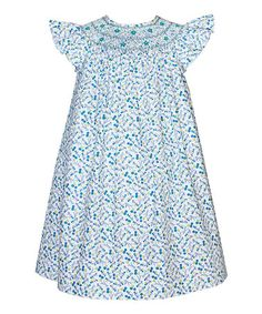 Look what I found on #zulily! Blue & White Forest Angel-Sleeve Dress - Infant, Toddler & Girls #zulilyfinds