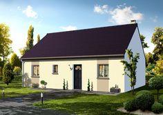 Modèle ELIOSOS  Pavillon plain-pied comprenant cuisine ouverte sur le séjour, hall, salle de bains, WC, 2 chambres.   Surface habitable : 75,00m².