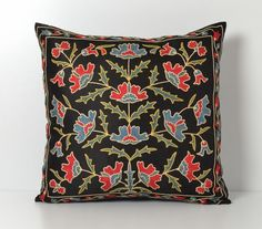 suzani pillow black suzani pillow suzani needlecraft home decor floral embroidery pillow  Suzani pillows, as its name suggests, this…