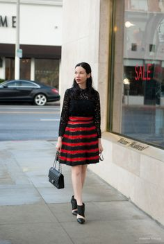 Marc by Marc Jacobs Skirt, The Kooples blouse, LAMB by Gwen Stefanie booties, LAMBLovers, Chanel Bag, Los Angeles Fashion Blogger