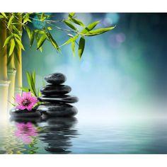 décor zen relaxe ambiance SPA papier peint personnalisé tapisserie numérique sur mesure les bambous au bord de l'eau