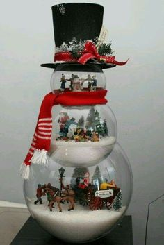 Christmas decorating. Snowman made of fishbowls.