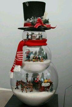 Christmas decorating. Snowman made of fishbowls.
