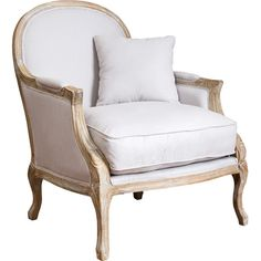 Features:  -Includes matching throw pillow.  -Material: Natural fabric linen and wood.  Chair Design: -Arm chair.  Frame Finish: -White, Oak.  Frame Material: -Other/Wood.  Arm Material: -Wood.  Uphol