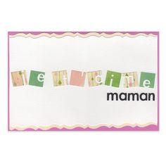 Carte Fête des Mères Carrés 'Je t'aime Maman', Collection Lovely Scrap, Lovely Carte