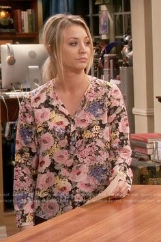 Penny's floral long sleeve blouse on The Big Bang Theory.  Outfit Details: https://wornontv.net/65243/ #TheBigBangTheory
