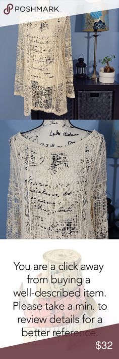 """Gorgeous off white crocheted tunic M Condition: Excellent. Never worn. No sign of stains, tears or flaws.  Measures 23"""" from pit to pit and is 28"""" long. Loose fit. All measurements taken with garment laying flat. Polyester blend. Very soft. Images represent exactly how product looks like. Ships within 24 hours after purchasing. BUNDLE AWAY AND SAVE! Clothing BFF Tops Tunics"""