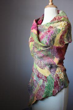 Nuno felted shawl wrap collage contemporary fiber art | by VitalTemptation , Etsy