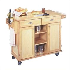 Partially Open and Closed Storage Kitchen Island on Wheels by Home Styles Kitchen Island On Wheels, Kitchen Island Cart, Kitchen Islands, Kitchen Carts, Kitchen Tables, Dining Tables, Kitchen Utensils, Style At Home, Newport