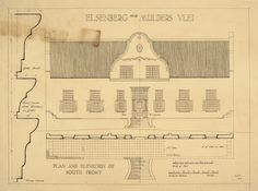 Elevation of the south front, and part plan of the stoep, of the Elsenburg Cape… Mediterranean Architecture, Colonial Architecture, Historical Architecture, Architecture Plan, Architecture Details, Cape Dutch, Architectural Features, Architectural Digest, Urban Design Plan