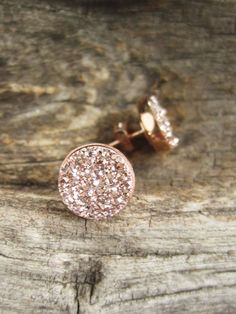 Gorgeous, rose gold colored druzy quartz stones are bezel set in NEW rose gold vermeil ear posts with backs. Natural, druzy stones are coated with