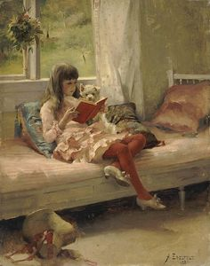 "A little girl in pink and red reads on her bed with her dog. ""Good Friends (Portrait of the Artist's Sister Bertha Edelfelt)"" Painted in 1881 by Albert Edelfelt"