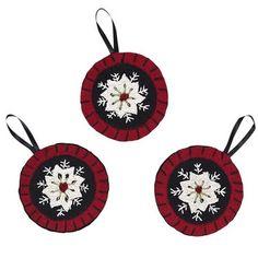 "Christmas Snowflake Felt Ornaments 4""- Set of 3"