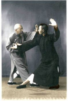 Scholar, author, Tai Chi master and Yang Cheng Fu's chief disciple, Chen Weiming (1881-1958) teaches self defense applications to his disciple, Leung King Yu. #Tai Chi #Taijiquan