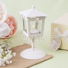 """'Love Lights The Way' Vintage White Candle Lamp 6 """" $3.15"""