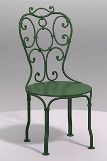 This lovely green French Bistro Cafe Chair will be a nice highlight to existing dark decor.