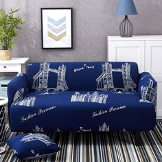 Blue Sofa Cover Elastic Polyester And Reversible White Houses Printed  Suitable For Living Room Machine Washable