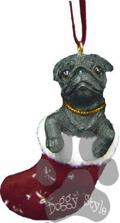 Santa's Little Pals Black Pug Christmas Ornament http://doggystylegifts.com/products/santa-s-little-pals-black-pug-christmas-ornament