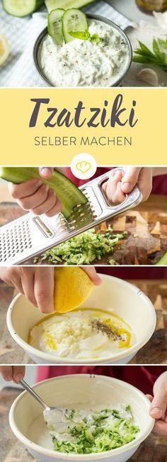 Tzatziki ist nicht nur bei den Griechen beliebt: Der cremige Joghurt-Dip mit Gurke Knoblauch und Dill ist kühl, erfischend und ganz einfach selbst gemacht.