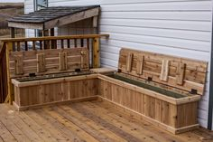 Custom cedar benches Cedar Bench, Carpentry Projects, Outdoor Furniture, Outdoor Decor, Outdoor Storage, Benches, Deck, Home Decor, Decoration Home