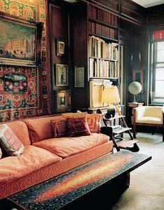 dark boho living room via shakingpalms