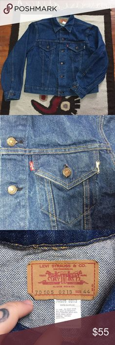 """70s Vintage Levi's Denim Trucker Jacket 🔹70s Vintage Levi's Denim Trucker Jacket. Distressing on left pocket. There aren't hand pockets on this jacket, only chest. 🔹Pre Owned Distressed Vintage Condition.  🔹This can fit Men's Small, or women's L/XL depending on fit desired. 🔹Compare your own measurements with the following: 🔹PTP: 44"""" 🔹Length: 21.5"""" 🔹Smoke free home- I do however have cats, but I try my best to ensure a clean product! Levi's Jackets & Coats"""