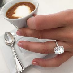 GOOD MORNING!!! Yes... It's the combination I can't get enough of.... Coffee and diamonds!!!! A gorgeous 8 carat cushion brilliant, perfect setting, from @beverlyhillsdiamonds