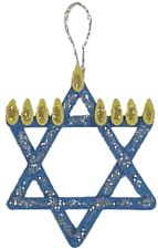 It's not Chanukkah without at least one popsicle stick craft!  Instead of getting messy by painting the sticks blue children can easily color them with markers or dot markers.  And you can use yellow construction paper or craft foam for the flames.  If it is too difficult for students to make the star of David shape, simply glue the flames onto a single horizontal craft stick.