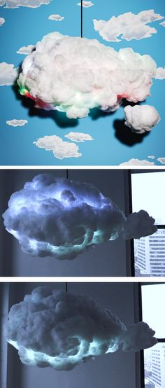 Cloud lamp with LED lights that change colors.this is awesome! ou Lâmpada nuvem com luzes LED que mudam de cor . Kids Crafts, Diy And Crafts, Deco Led, Ideias Diy, Ideas Geniales, Diy Décoration, Color Change, Baby Room, Kids Room