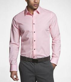 Express Mens 1Mx Extra Slim Fit French Cuff Shirt Neon Pink Button ...