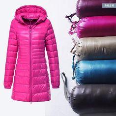 New Fashion Winter Women Down cotton Long Coat Hooded Down Jacket Ladies Parka | eBay