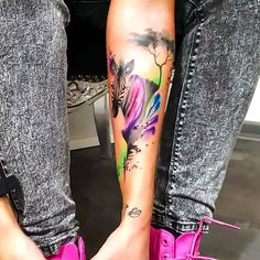 A nice and creative tattoo of a zebra with colorful strokes. Style: Watercolor. Color: Colorful. Tags: Creative, Nice, Elegant