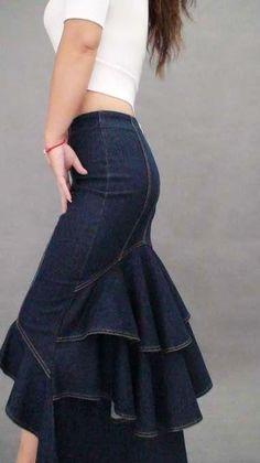 casual-chic in this Dark Denim Fishtail Skirt. It takes you from day to date . Go casual-chic in this Dark Denim Fishtail Skirt. It takes you from day to date . - -Go casual-chic in this Dark Denim Fishtail Skirt. It takes you from day to date . Online Fashion, Xl Fashion, Denim Fashion, Look Fashion, Dress Fashion, Fashion Stores, Fashion 2018, Fashion Trends, Latest Fashion