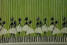 """Alicja Wyszogrodzka, Instytut Wzornictwa Przemysłowego, tkanina dekoracyjna lub kupon na spódnicę """"Panny"""", 1958."""