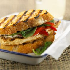 You will love these Grilled Chicken and Roasted Pepper Sandwiches! More of our best grilled chicken recipes: http://www.bhg.com/recipes/chicken/grilled/grilled-chicken-recipes/?socsrc=bhgpin062113chickensandwich=21