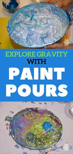 Exploring Science with an Awesome Gravity Paint Pour Art Project Gravity makes some of the most interesting art! Learn about gravity with paint pours and make awesome marbleized patterns with kids today! Space Activities, Science Activities For Kids, Steam Activities, Spring Activities, Science Experiments Kids, Gravity Experiments, Science Crafts, Stem For Kids, Art For Kids