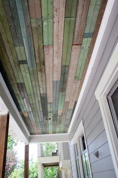 Salvaged beadboard used as the ceiling on my porch www.cedarhillfarmhouse.com #salvage #beadboard #porch