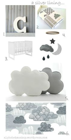 Grey and white nursery featuring alphabet monkey cloud quilt. Goes well with the blue walls.