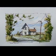 """Fall Farm"" Line and wash watercolor with 4 colors.  Latest video posted on YouTube. Link to my YouTube Channel is in my bio or click the following link.  https://m.youtube.com/c/petersheelerart  My sketches now for sale on Ebay:  http://www.ebay.ca/sch/sheelerart/m.html?_nkw=&_armrs=1&_ipg=&_from=  #Video #youtube #youtubers #landscape #art #original #watercolor #winsorandnewton #watercolour #painting #paintingaday #penandink #architecture #ink #moleskine_arts #peter #sheeler #canada…"